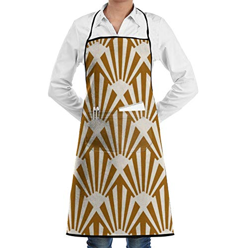 Art Deco Fan Pattern Caramel And Cream Cooking Apron Adults Waterproof Adjustable Kitchen Aprons for Baking Gardening Restaurant BBQ for Men Women