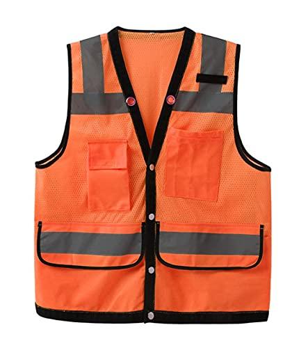 AP.DISHU Chaleco Reflectante Creativo Chaleco Chaleco De Seguridad Ropa Reflectante,Chaleco De Seguridad Multibolsillos,Tecnología Reflectante/Acompañamiento De Seguridad,Naranja,S