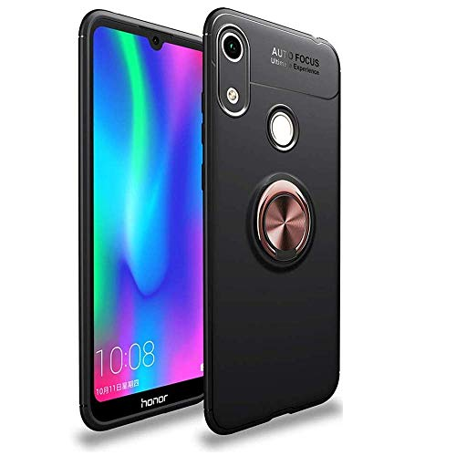 Compatible con Huawei Y6 2019, funda flexible de silicona, 360 grados de rotación, anillo de metal, soporte magnético, soporte de coche, protección contra arañazos Negro + oro rosa. Talla única