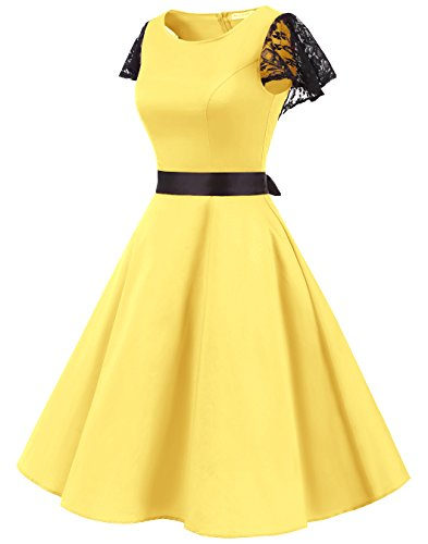 BeryLove Women's Vintage 50s Lace Sleeves Retro Rockabilly Swing Coaktail Party Dresses BLV8002YellowXL