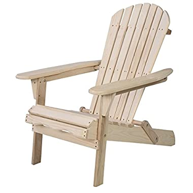 Giantex Wood Adirondack Chair Foldable Outdoor Fir Wood Construction for Patio Deck Garden Deck Furniture (Wood)
