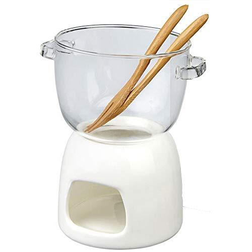 TAMUME Glas Schokoladenfondue-Set, Fleisch-Fondues Packung Glas Fondue Topf und Porzellanwärmer mit Fondue-Gabel