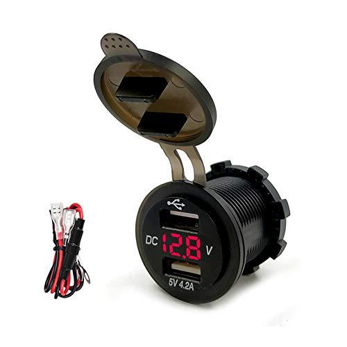 YGL Impermeable Dual USB Cargador 4.2A con Pantalla de Voltaje para 12 V/24 V Coche Barco Marine Motocicleta(Rojo)