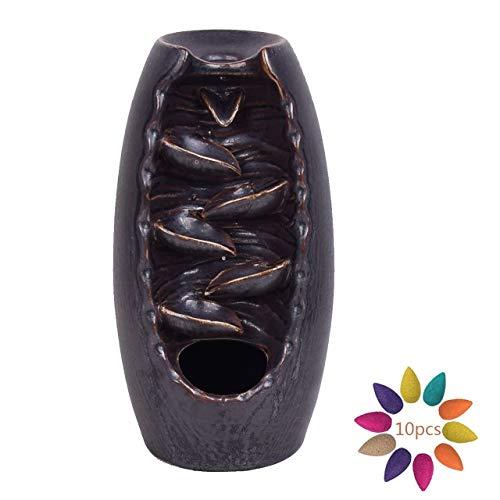 Magiin Keramik Räucherstäbchenhalter Wasserfall Rückfluss Räuchergefäß Aromatherapie Ornament Wohnkultur mit 10 Räucherstäbchen Kegel (Schwarz)