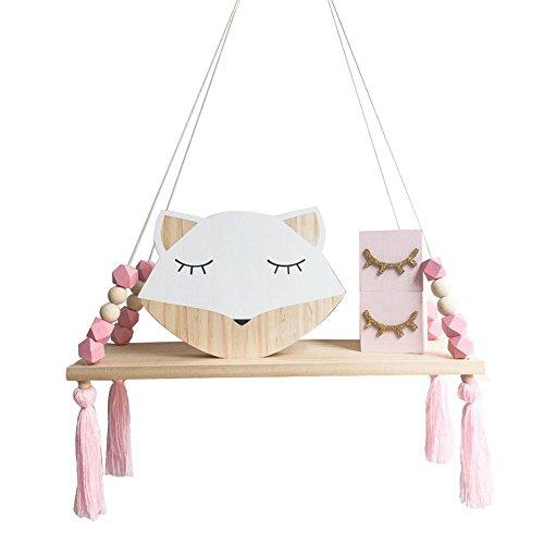 Liseng Estantería de pared con borla de madera para niños, estilo nórdico, color rosa