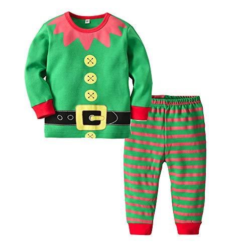Disfraz Navidad Pijama Niño Niña Bebe Elfo Tops de Manga