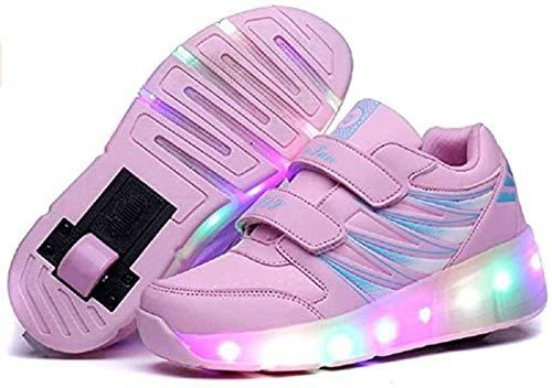 Kinder Rollschuhe Schuhe mit Single Wheel USB-Lade-LED-Leucht-up Sport-Trainer Roller Sneakers für Unisex-Mädchen Jungen Anfänger-ich_Rosa Amazing