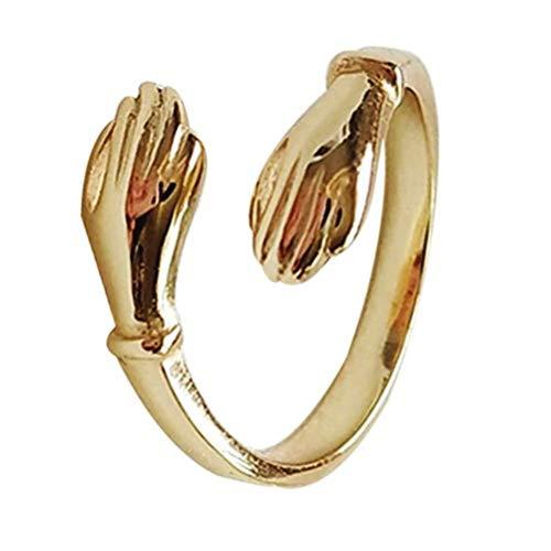 Anillo de plata de ley 925, anillo de abrazo de pareja, plata de ley 925, anillo de abrazo de amor, anillo abierto ajustable, regalo para mujeres, madre, esposa, novia, amante