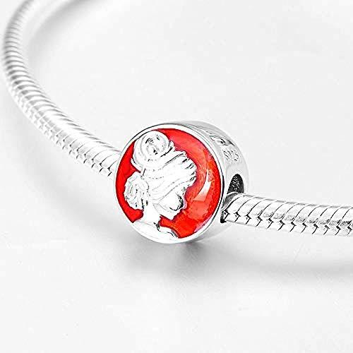 Zilveren Kralen Bedels,Nieuwe Mooie Meid Hoofd Portret 925 Sterling Zilver Rood Emaille Fijne Kralen Fit Originele Charms Armbanden Maken