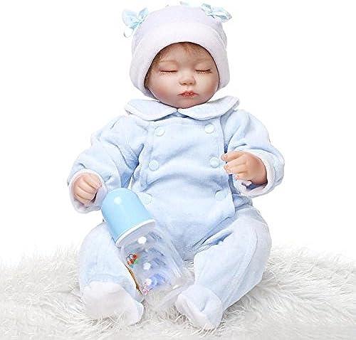 SHTWAD Handgemachte Weiße Silikon Reborn Baby Puppe Neugeborenen Magnetische Mund Lebensechte 42cm 16.5 Zoll Augen Geschlossen Junge mädchen Spielzeug