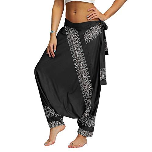 RISTHY Pantalones Anchos Mujer Pantalones Harem Talla Grande Holgados Ocasionales Boho Aladdin Pantalones de Yoga Pantalones Harén de Playa Vacaciones