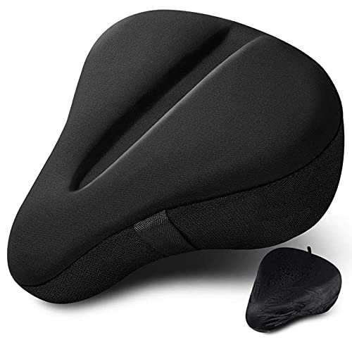 Bike Seat Cushion, Extra Soft Gel Bike Seat Cover for Women & Men, Comfortable Bicycle Saddle Pad to Reduce Pain During Cycling, Spinning and Exercise Class