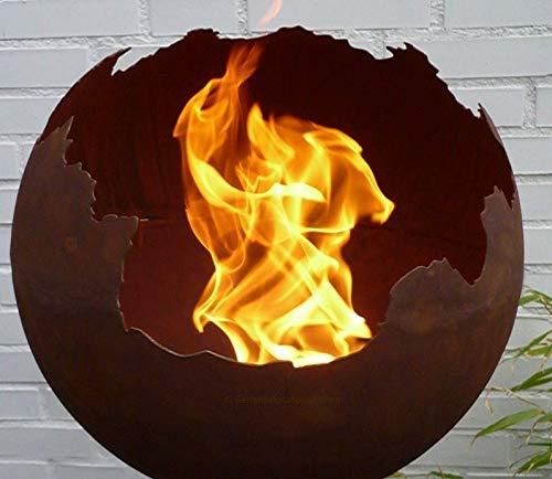 Gartendekorationen-Shop Edelrost Kugel 40cm Ø Feuerkugel Pflanzschale Feuerschale Feuerkorb Metall Rost Schale WETTERFEST & FROSTFEST