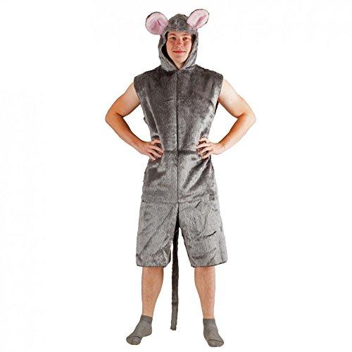 Krause & Sohn Kostüm graue Maus Plüsch Kurzoverall Fasching Tierkostüme Mauskostüm (L/XL)