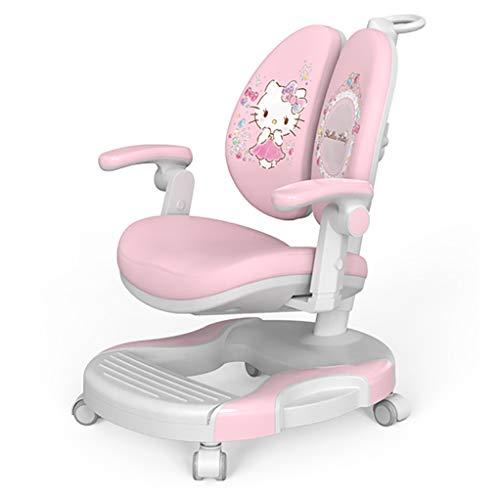 Yjie Slaapkamer bureaustoel roze, hoge rug kind leerstoel met armleuningen en zelfvergrendelend wiel, verstelbare stoel bureaustoel