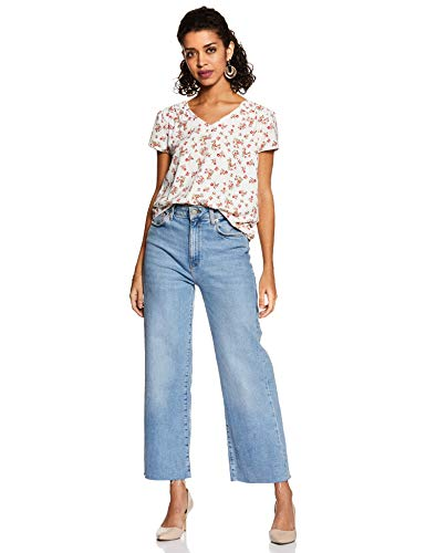 Amazon Brand - Eden & Ivy Women's Floral Regular Fit Cap Sleeve Top (TRIAMATP001_White_XS)