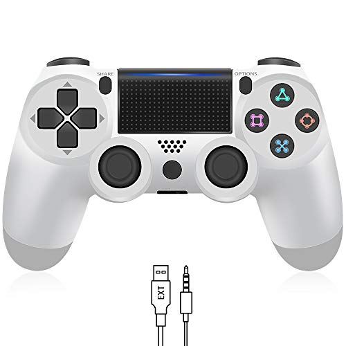 Wireless Controller for PS4, YCCTEAM Game Controller 1000mAh Battery Gamepad Joystick for Playstation 4/Pro/Slim, with Dual Vibration/6-axis Gyro Sensor/Audio Function (Glacier White)