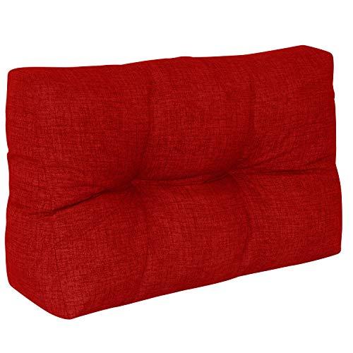 DILUMA | Cojín de Respaldo Corto 60x40 cm Rojo | Cojín Confort para sofás palés Repelente a Las Manchas