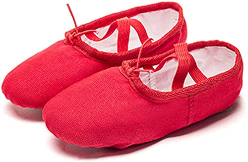 HOOPOO Girls' Dance Shoes,Ballet Flats Split Leather Sole Dance Slippers For Women Kids Toddler Red (Color : Red, Size : 33 20.5cm)