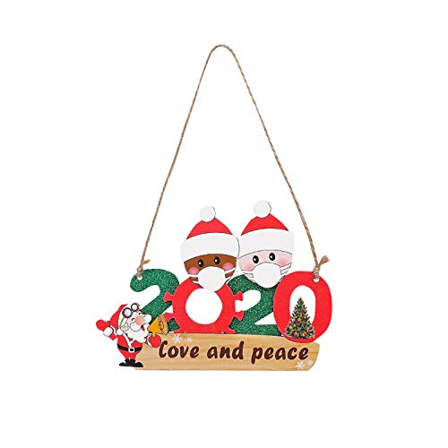 ACWERT Décoration de Noël 1Pcs,2020Survivor Fanmily avec Masque Memorial Christmas Love & Peace Slogan, Arbre en Verre fenêtre Suspendu intérieur extérieur Pendentif Nouvel an Cadeau (B)