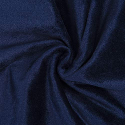 Encasa Homes Velvet Solid Dyed Fabric Decorative Soft Smooth Silky Cloth for Sofa, Furnishing, Upholstery, Curtains, Cushions and Craft 100 x 140 cm - Navy Blue
