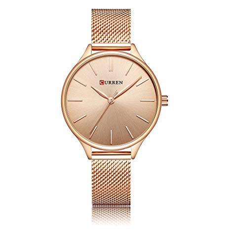 Reloj de Cuarzo para Mujer, Reloj de Acero, análogo Ultrafino, Simple para Mujer (Rose-Gold)