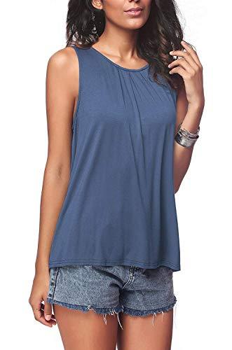 Avacoo Damen Top Ärmellos Baumwolle Sommer Tank Top Einfarbig T Shirt Blau M