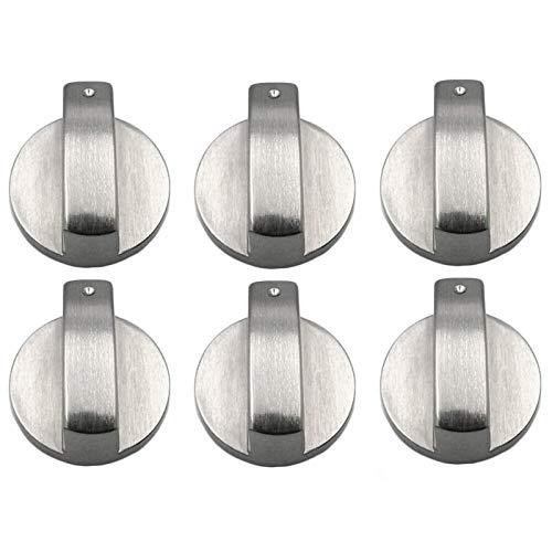 6 Pezzi Manopole per Fornelli a Gas, 8 mm Pomello Forni Manopole per Interruttori di Comando per Fornello a Gas, Universale Interruttore per Piano Cottura a Gas in Metallo
