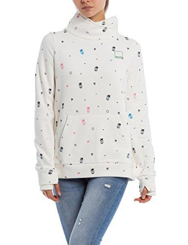 Bench Damen HER. Funnel Print Overhead Sweatshirt, Weiß (Pineapple Minimal with Pop. Sn P1455), Small (Herstellergröße: S)