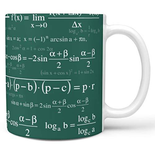 O3XEQ-8 11 Oz Lustige Mathe-Formeln Getränke Kaffee Becher mit Griff Keramik Unique Tassen - Weiße Kreide Jungen Männer Geschenke, Anzug für Restaurant verwenden white19 330ml
