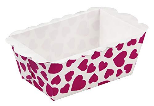 Zeller 43422 Mini-Moule à Cake Coeurs 9x5x3,5cm 8 pièces Blanc/Rouge, Carton, 9 x 5 x 3,5 cm
