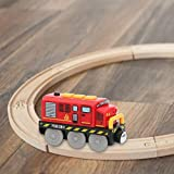 Locomotiva ad Azione a Batteria - Giocattolo per binario magnetico per trenino elettrico collegato magneticamente compatibile con binario in legno presente per ragazzo ragazze bambini (NO binario )