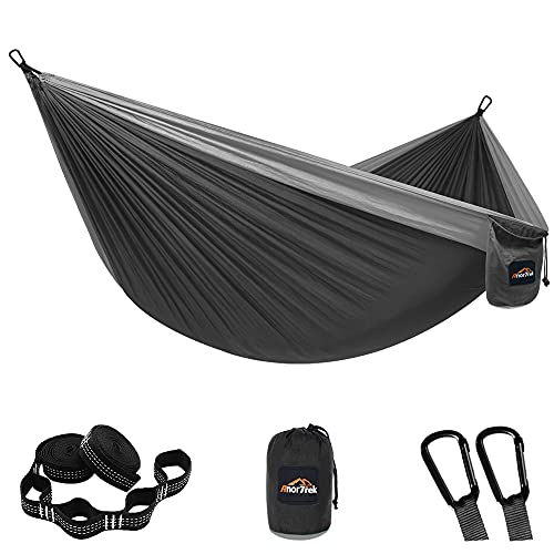 AnorTrek Camping Hammock, Super Lightweight Portable Parachute Hammock with Two Tree Straps Single &...