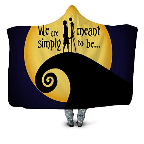 NSWSYDM Hooded Blanket Yellow Moon With Black Tentacles 3D Colorful Printed Hooded Blanket 130X150 CM Plush Warm Sherpa Soft Wearable Portable Cloak Adult Children's Nap Blanket