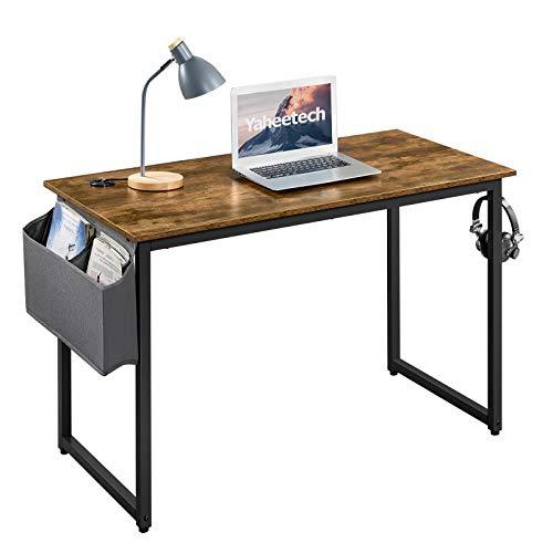 Yaheetech Mesa de Ordenador 120 x 60 x 75 cm Rústico con Gancho Bolso Madera Metal Escritorio de Estilo Vintaje Industrial Mesa de Estudio para Oficina Despacho Casa