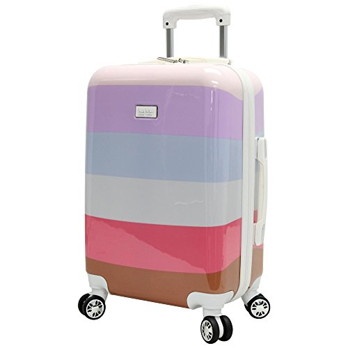 Nicole Miller New York Rainbow Luggage Collection - 24 Inch (ABS+PC) Hardside Mid-size Checked Suitcase - Durable Lightweight Bag with 8-Rolling Spinner Wheels (Rainbow Lavender)