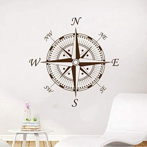 Wandaufkleber Nautischer Kompass Wandtattoo Navigieren Schiff Vinyl Aufkleber Aufkleber Kompass Ozean Meer Wohnzimmer Schlafzimmer Kinderzimmer Wanddeko 57X57Cm