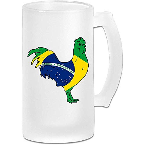 Haan met de Braziliaanse vlag Frosted Glass Stein Beer Mok, Pub Mok, Drank Mok, Gift voor Bier Drinker, 500Ml (16.9Oz)