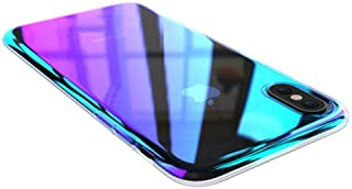 iPhone Xs/X Case,Winhoo Gradual Colorful Gradient Change Color Ultra Thin Electroplating Blue Light Mirror Lightweight Anti-Drop Transparent Clear Hard Back Case Cover for Apple iPhone X/Xs 5.8 inch