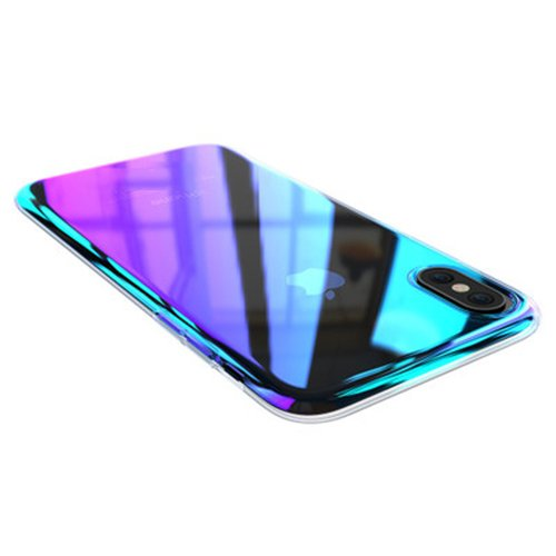 Winhoo iPhone Xs/X Case, Gradual Colorful Gradient Change Color Ultra Thin Electroplating Blue Light Mirror Lightweight Anti-Drop Transparent Clear Hard Back Case Cover for Apple iPhone X/Xs 5.8 inch