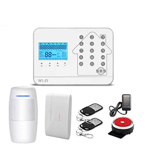 GUOKUI Wi-Fi Inteligente Sistema De Alarma Kit, Alarma Inalámbrica gsm Sistema De Marcado Automático del Teclado Táctil Casa Sistema De Alarma, para El Hogar, Apartamento, Oficina Tienda