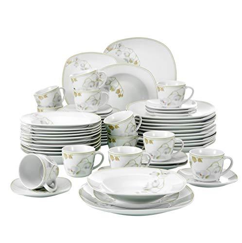 VEWEET 'Emily' 60 Set Servizio da tavola in Porcellana Set di stoviglie Tazze di caffè 175ml, Piatto, Piatti da Dessert, Piatti e Ciotole di zuppa di Pranzo Servizio Completo per 12 Persone