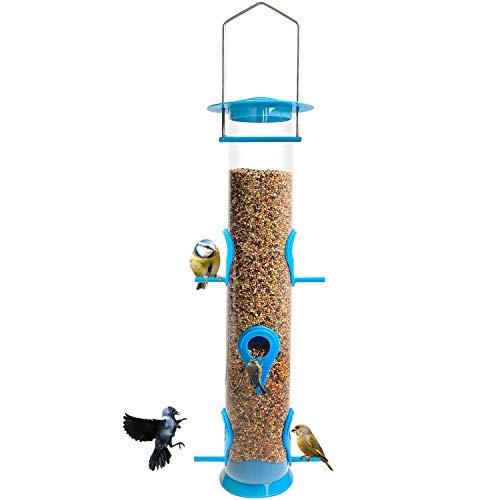 Bird Feeder Hanging Classic Tube Hanging Feeders with 6 Port Bird Feeders Premium Hard Plastic with Steel Hanger Weatherproof and Water Resistant Great for Attracting Birds Outdoors Garden (1 Pack)