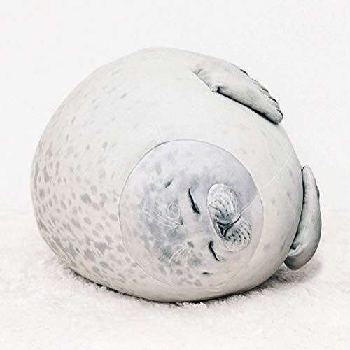Deeabo 30cm Meerestier Kissen, Siegel Tier Kissen Blob Seal Kissen Plüschtier Robbe Dichtung Spielzeug Mollig Seal Stofftier Baumwolle Plüschtier Kissen für Geburtstag, Beige