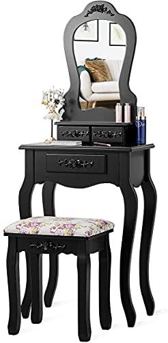GIANTEX-Tocador de Maquillaje con Espejo en Forma de Abanico y 3 Cajones, Tocador con Taburete Mesa de Maquillaje, 50 x 30 x 136 cm (Negro)