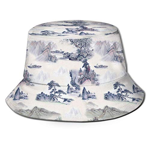 Hangdachang New Chinese Ink Paintings Fisherman Bucket Caps for Women Men Boys Girls, Wide Brim Fitted Boonie Cap Hat