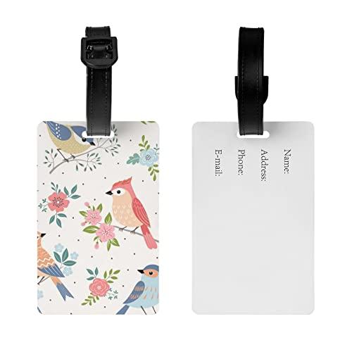 MGCEDLTD Etichetta per bagagli con motivo floreale pappagallo, borsa da viaggio con cinturino da polso staccabile