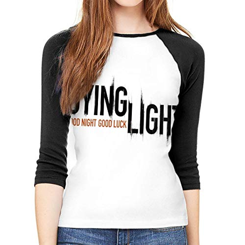 hdghg Frauen 3/4 Ärmel T-Shirts,T-Shirts Blusen für Damen,Women Long Sleeve T-Shirt, Dying Light Round Neck T Shirt Baseball Tunic Tops Blouse Ladies Raglan 3/4 Length Sleeve Tee