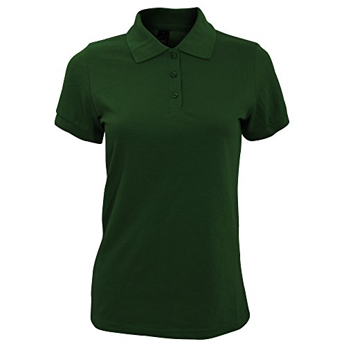 Sols Prime Damen Pique Polo-Shirt, Kurzarm (L) (Flaschengrün)