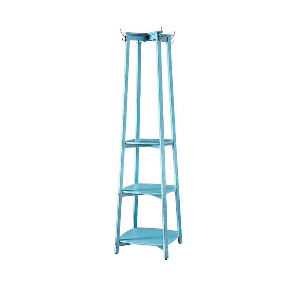 寝室さようならタイムリーなZX コートハンガーコートラックスタンドハンガーストレージジャケットツZX ハンガーラック コートラック 無垢材 ハンガー 床材 アセンブリ リビングルーム 寝室 調査 多層ストレージ 環境を守ること (サイズ:47 * 180cm) (色:地中海ブルー) 収納家具 (Color : Mediterranean blue)